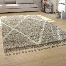 hochflor teppich wohnzimmer shaggy skandinavischer stil mit fransen beige creme