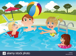 A Vector Illustration Of Happy Family Playing In Swimming Pool