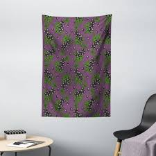 wandteppich wohnzimmer schlafzimmer wandtuch seidiges satin wandteppich abakuhaus rechteckig grün und lila belaubt schwarze johannisbeere
