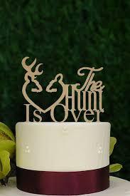 Wooden Rustic Hunt Is Over Wedding Cake Topper Deer Hey