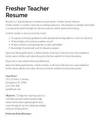 Resume Samples For Teachers With Experience In India