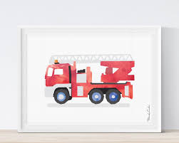 Fire Truck Wall Art, Fire Truck Printable, Fire Truck Print ...