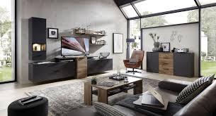 wohnwand schrankwand anbauwand wohnzimmer mediana3 6 tlg hängevitrine tv wandboard grau eiche led beleuchtung