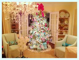 Amazing Christmas Tree Decorations 2015 Warm White Led Lights Red Ribbon Toppers Crystal Chandelier Beige Fabric Arm