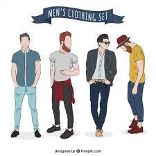 Modern Mens Clothing Set Free Vector
