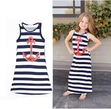 2017 Children Girls Summer Dress Navy Metal Sequins Stripes Cotton Kids T Shirt Dresses For Vest Vestido