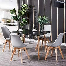 hj wedoo tisch mit stühlen essgruppe schwarz tisch mit 4 grau stühlen für esszimmer küche wohnzimmer
