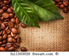 Free Art Print Of Coffee Border Design Beans And Leaves