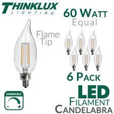 60 watt equal led filament candelabra light bulb c11 earthled