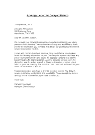 Apology Letter for Delayed Return Hashdoc