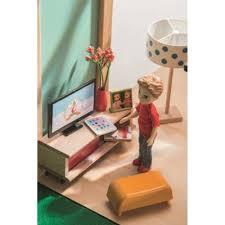 djeco puppenhaus möbel aus holz fernsehzimmer