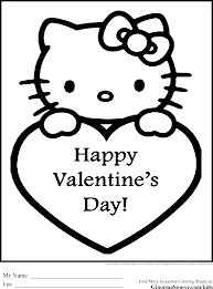 Coloring Pages Hello Kitty Valentines Inside Valentine Printable