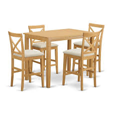 East West Furniture YAPB5-OAK-C 5 Piece High Top Table And 4 Chairs Set Kitchen Design Counter Height Ding Room Table Tall High Hightop Table With 4 Leather Chairs Top Hanover Monaco 7piece Alinum Outdoor Set Round Tiletop And Contoured Sling Swivel Chairs High Kitchen Set Replacement Scenic Top Wning Amazing For Sets Marble Square And Glass Small Pub Style Island Home Design Ideas Black Cocktail Low Tables Astonishing Rooms Modern Wood Dark 2