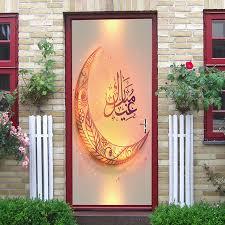 3d muslimischen glücklich eid mubarak tür aufkleber ramadan dekoration wohnzimmer schlafzimmer tür kreative wohnkultur wasserdichte wandaufkleber