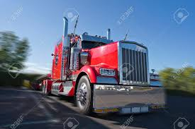 100 Big D Truck Stop Front View Of Red Classic Bonnet American Rig Semi Tractor