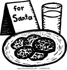 Black White Vector Illustration Santa Cookies Stock Vector · Cookie clipart coloring