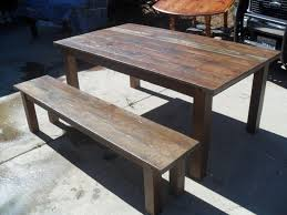 Custom Made Reclaimed Wood Dining Table And Bench In The Usa From Reclaime