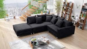 modernes sofa ecksofa eckcouch in gewebestoff schwarz mit hocker minsk l