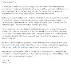 Apple A letter from Tim Cook on Maps Google Chrome 2012 10