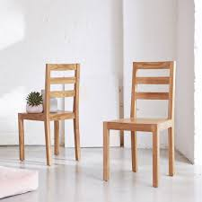 Solid Teak Chair Simple Classic Wooden Design Kitchen Living Room New Tikamoon