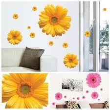 Hot Sale Daisy Flower Living Room Vinyl 3D Wall Stickers Window Decor Bedroom Decals Sticker