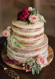 Rustic And Effortlessly Chic With Minimal Icing Topped Fresh Flowers Makes It A Lovely