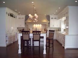 Classic L Shaped White Kitchen Designs Combine Dark Polished Wooden Flooring Modern Chandelier Also Ceiling