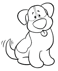Dog Coloring Page Kids Simple Pages Printable Download Free Cat And Full Size