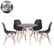 Joolihome Black Eiffel Dining Table And 4 Plastic Chairs Set Wood Style For  Office Lounge Dining Kitchen (Black Round Table+4 Black Chair) Aldridge High Gloss Ding Table White With Black Glass Top 4 Chairs Rowley Black Ding Set And Byvstan Leifarne Dark Brown White Fnitureboxuk Giovani Blackwhite Set Lorenzo Chairs Seats Cosco 5piece Foldinhalf Folding Card Garden Fniture Set Quatro Table Parasol Black Steel Frame Greywhite Striped Cushions Abingdon Stoway Fads Hera 140cm In Give Your Ding Room A New Look Rhonda With Inspire Greywhite Kids Chair
