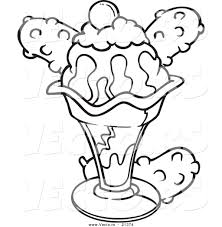 Vector Of A Cartoon Ice Cream Sundae With Coloring Page