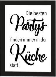 picsonpaper poster din a4 die besten partys finden immer in der küche statt gerahmt mit schwarzem bilderrahmen poster mit rahmen küchenparty