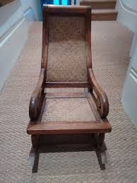 Antique Child's Wooden Rocking Chair With Cane Back And Seat ...