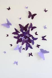 15 Simple Purple Paper Butterflies Wall Art