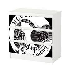 set möbelaufkleber für ikea kommode malm 3 fächer schubladen never stop dreaming spruch frau abstrakt schlafzimmer aufkleber möbelfolie sticker
