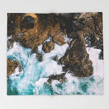 100 Rocky Landscape Ocean Waves Crushing On Drone Photography Aerial Photo Ocean Wall Art Throw Blanket