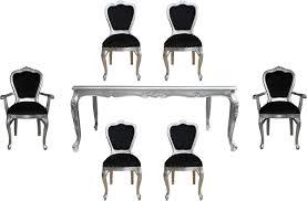casa padrino luxus barock esszimmer set schwarz silber 1 esstisch mit glasplatte und 6 stühle barock esszimmermöbel made in italy luxury