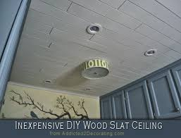 Inexpensive Basement Ceiling Ideas by Inexpensive Diy Wood Slat Ceiling Wood Slats Diy Wood And Ceiling
