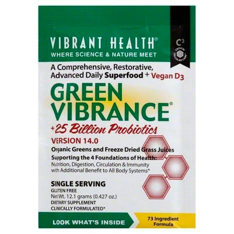 Vibrant Health Green Vibrance Superfood Powder - 15 Sachets - 15 Day Supply - Super Greens Powder with Over 60 Pure Ingredients