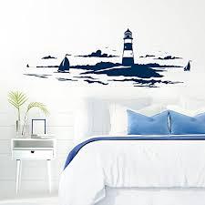grandora skyline küstenlandschaft leuchtturm i dunkelblau 120 x 42 cm i bad wohnzimmer schlafzimmer aufkleber wandaufkleber wandsticker modern w974