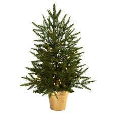 Artificial Christmas Tree With Golden Planter And Clear Lights