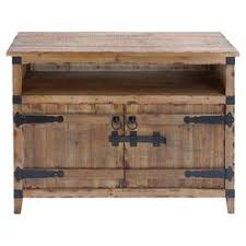 Rustic Style Media Stand With An Open Shelf Lower Cabinet And Black Metal