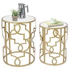 umi by 2er set beistelltisch satztische sofatisch kaffeetisch mit weiß holzplatte für wohnzimmer schlafzimmer gold