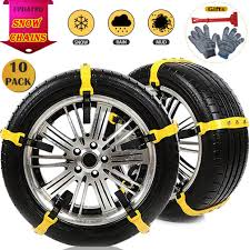 Amazon.com: Snow Chains 10 Pcs Anti Slip Tire Chains Adjustable ...