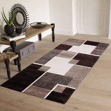 Renzo Collection Easy Clean Stain And Fade Resistant Luxury Brown Area Runner Rug For Living Room Bedroom Kitchen Modern Geometric Space Design With