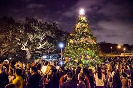 A Group Of Spectators Gather Around The Christmas Tree Lighting On Campus