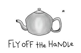 Fly Off The Handle Teapot Pun Literal Interpretation Friendly World