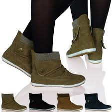 new womens ladies flat ankle boots booties thick sock rubber sole