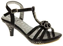 new kids girls sparkly floral t bar ankle strap formal heels size