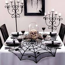 AerWo 40 Inch Black Spider Halloween Lace Table Topper Cloth For Decorations
