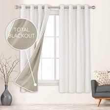 deconovo vorhang blickdicht gardinen wohnzimmer mit ösen vollverdunklungsvorhänge leineoptik 183x117 cm creme 2er set